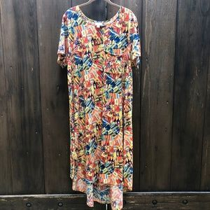Lularoe Carly Abstract High/Low Dress Plus Size